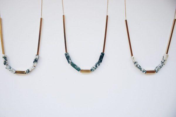Collar Musgo de Fauna y Flora, mineral ágata musgosa
