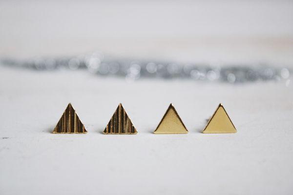 Pendientes triángulos con texturas chapados Fauna y Flora