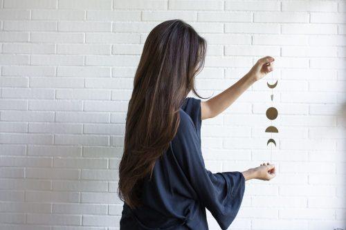 The Moon Phases Wall Art decoración de pared y móvil inspirado en las fases lunares de Fauna y Flora