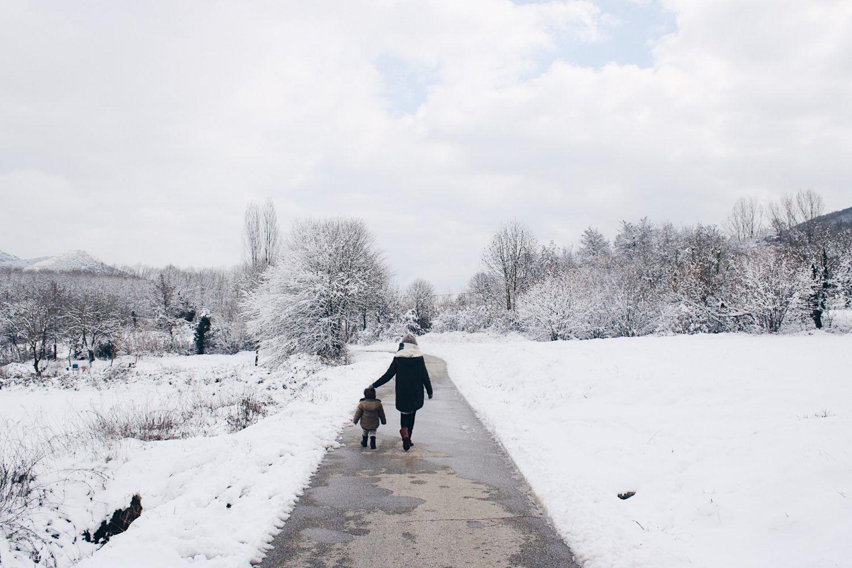 Paisaje de la Garrotxa con nieve de la nevada de 2018