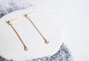 Pendientes largos con circonita Estrella Polar Chapados en oro de 18kt y libres de níquel y plomo